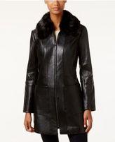 Anne Klein Faux-Fur-Collar Leather Walker Coat