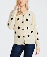 Bellino Cream Star Button-Front Cardigan