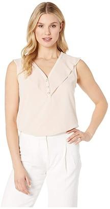 Calvin Klein Sleeveless Top w/ Chiffon Buttons (Blush) Women's Clothing