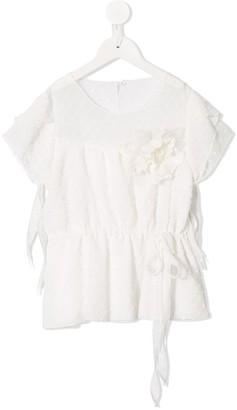 La Stupenderia floral applique tie-waist blouse