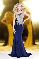 Shail K - Elegant Laced and Jeweled Scoop Neck Polyester Trumpet Gown 4089