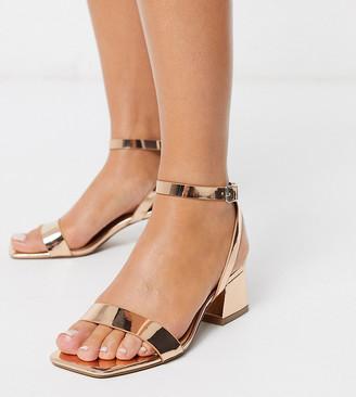 ASOS DESIGN Wide Fit Hocco block heeled sandals in rose gold
