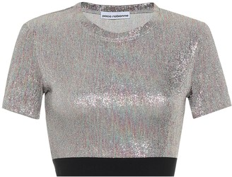 Paco Rabanne Lame-jersey crop top