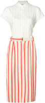 Michel Klein belted stripe midi skirt - women - Cotton - 36