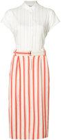 Michel Klein belted stripe midi skirt