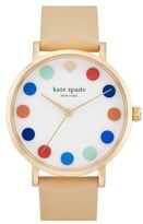 Kate Spade 'metro' Dot Dial Leather Strap Watch, 34mm