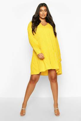 boohoo Plus Stripe Tie Neck Tiered Smock Dress