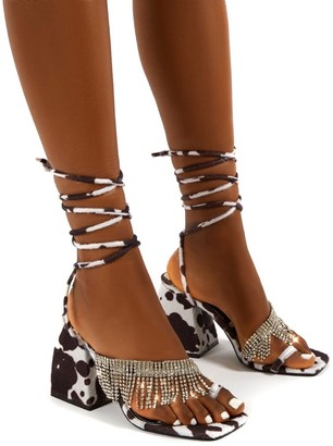 Public Desire Uk Peri Multi Lace Up Diamante Fringe Detail Toe Loop Chunky Heel