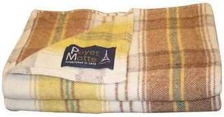 Poyet Motte Chevreuse 67% Wool / 33% Acrylic Blanket, 450Gsm, Yellow/Plaid, Queen