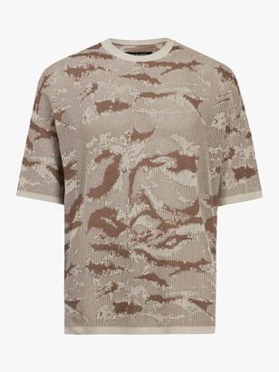 AllSaints Conceal Camo Crew Neck T-Shirt, Khaki Taupe