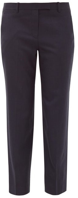 The Row Clark Cropped Wool Twill Trousers - Womens - Navy