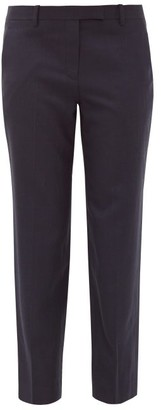 The Row Clark Cropped Wool-twill Trousers - Womens - Navy