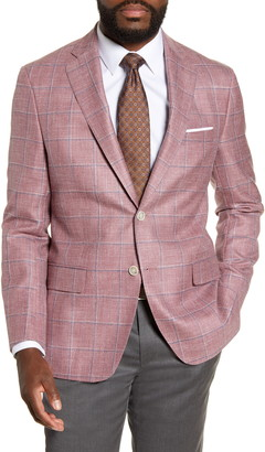 Hart Schaffner Marx Classic Fit Windowpane Wool Blend Sport Coat