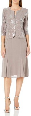 Alex Evenings Women's Tea-Length Dress with Jacket