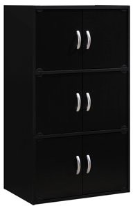 Hodedah 3-Shelf, 6-Door Multipurpose Cabinet, Multiple Colors