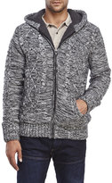 american stitch Marled Knit Cable Knit Zip Front Sweater