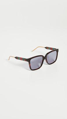 Gucci Sophisticated Web Wayfarer Sunglasses