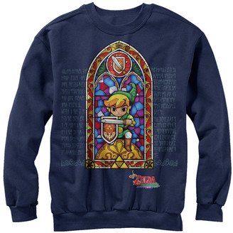 Fifth Sun Pullover Sweaters NAVY - Legend of Zelda Navy Stained Glass Crewneck Sweater - Adult
