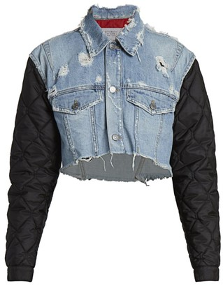 Givenchy Logo & Quilted-Sleeve Cropped Denim Jacket