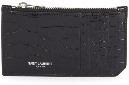 Saint Laurent Brown Pebbled Leather Monogram Zipped Five Card Case
