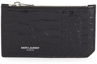 Saint Laurent Fragments Croc-Embossed Leather Zip Card Case