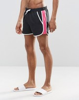 Asos Runner Swim Shorts With Contrast Mesh In Black