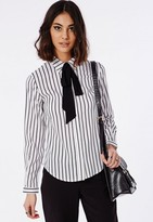Missguided Striped Pussybow Blouse