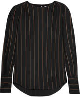 Chloé Metallic Striped Crepe Blouse - Black