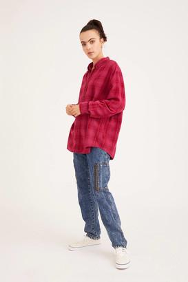 Urban Renewal Vintage Recycled Overdyed Boyfriend Flannel Shirt