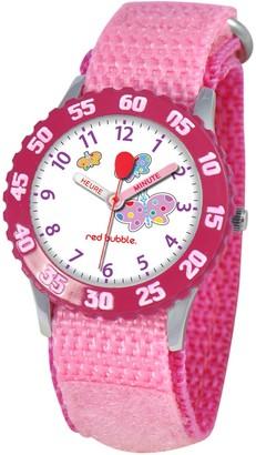 Red Bubble Red-Bubble Watch W002056-Girls-educational Pink Quartz White Dial Strap-Nylon