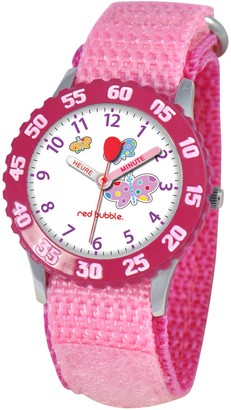Red-Bubble Watch W002056-Girls-educational Pink Quartz White Dial Strap-Nylon