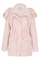 Quiz Pink Quilted Faux Fur Hooded Jacket