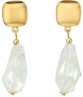 Kenneth Jay Lane Satin Gold Top with Jade Drop Earrings