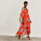 Thumbnail for your product : River Island Womens Red floral printed wrap frill dress
