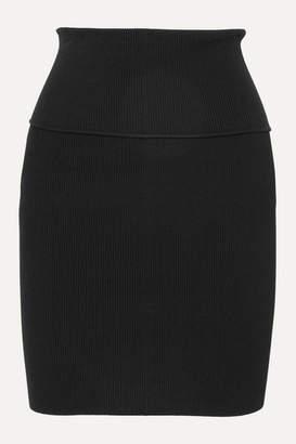 Helmut Lang Ribbed-knit Mini Skirt - Black