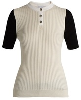 Courreges Bi-colour cotton and cashmere-blend top