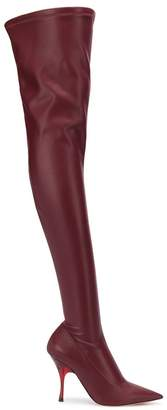 Rochas 110mm pointed thigh high boots