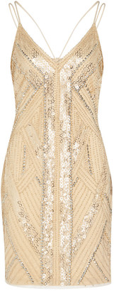 Aidan Mattox V-neck Beaded Sheath Dress