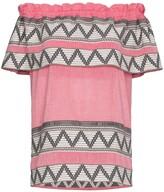 Celia Dragouni off-shoulder zig zag embroidered short sleeve top