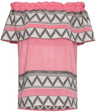 Celia Dragouni off-shoulder zig zag embroidered short sleeve top