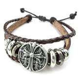 TEMEGO Jewelry Mens Womens Leather Rope Braided Bracelet, Gothic Cross Beads Charm Bangle,Fits 7.5-9 Inch, Silver