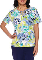 Alfred Dunner Cable Beach Short Sleeve V Neck T-Shirt