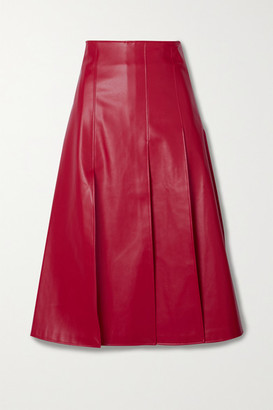 A.W.A.K.E. Mode Pleated Faux Leather Midi Skirt - Red