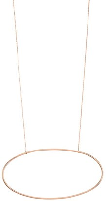 ginette_ny 18K Rose Gold Jumbo Ellipse Pendant Necklace