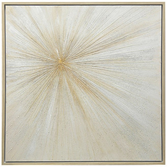 """Stylecraft Gold and Cream Hand Painted Canvas With Gold Frame, 40""""x40"""""""