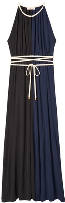 Tory Burch Colorblock Tie-Waist Maxi Dress