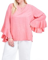 Fever Plus Size Ruffle-Sleeve Top