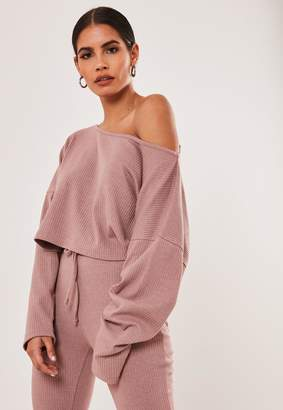 Missguided Pink Co Ord Ribbed Slouchy Crop Top
