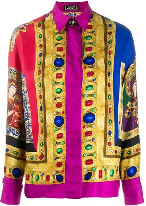 Versace Pre-Owned silk jewel print shirt