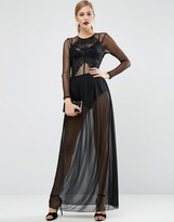 Asos Lace Top Dobby Maxi Dress